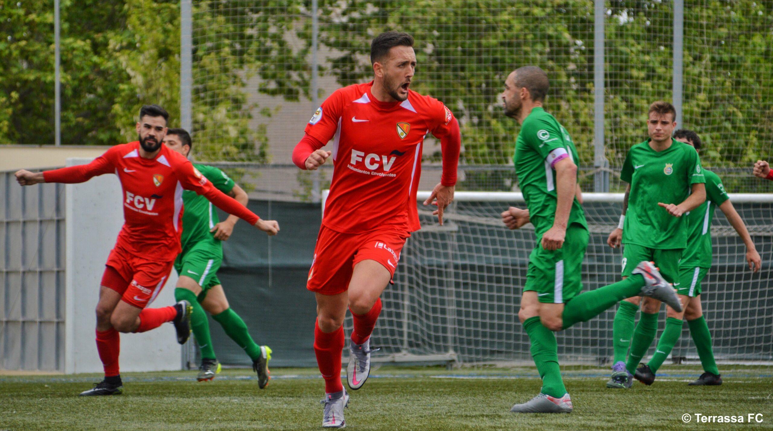Àlex Fernández celebrant el gol davant del Cerdanyola | Terrassa FC