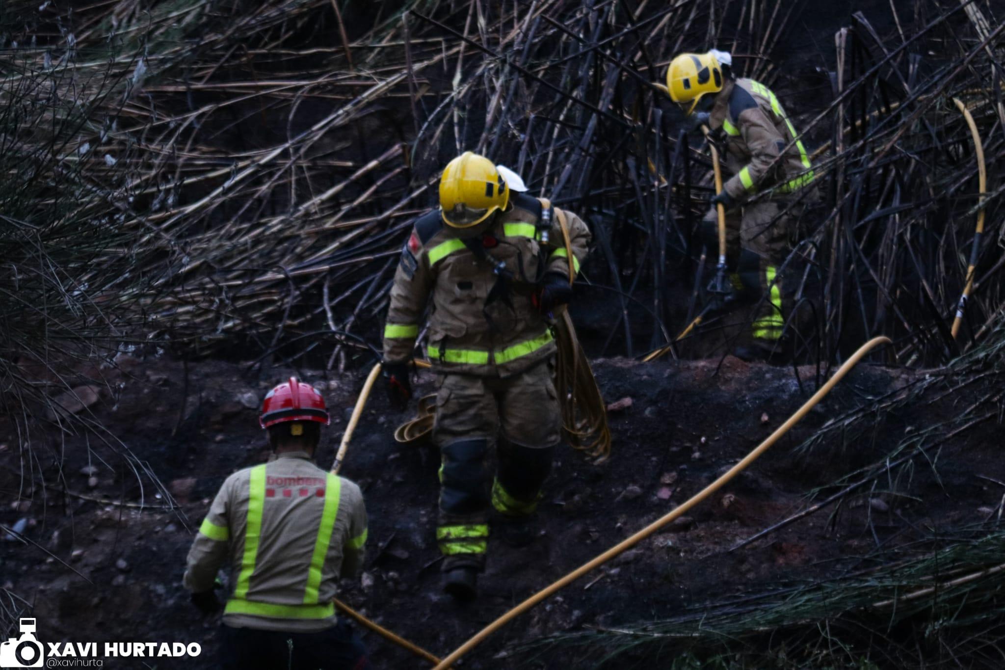 A última hora d'ahir al vespre es va produir un incendi de canyes i vegetació al camí vell d'Ullastrell, prop de Can Poal, a Terrassa/Xavi Hurtado