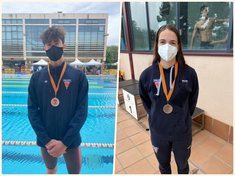 Adrian Santos i Aida López amb les medalles aconseguides | CN Terrassa