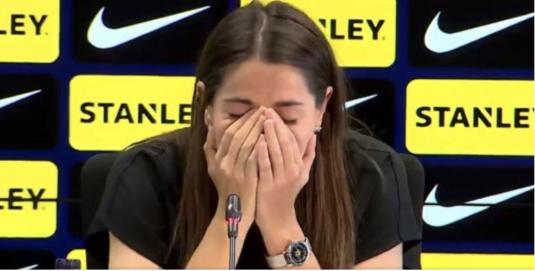 Vicky Losada, durant la seva roda de premsa de comiat | FC Barcelona