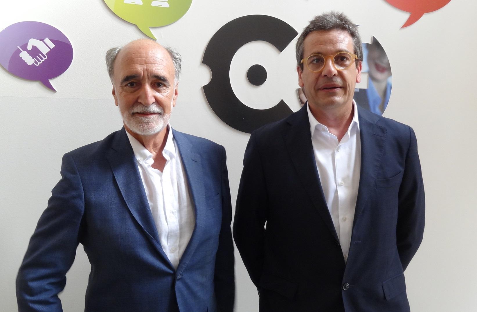 Josep Armengol i Francesc Roca després de l'assemblea de l'Institut Industrial