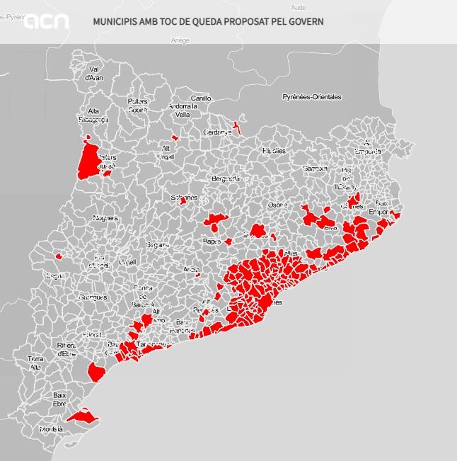 Mapa dels municipis afectats pel toc de queda que vol aplicar el Govern en una imatge elaborada el 14 de juliol del 2021. Pla general. (Horitzontal)