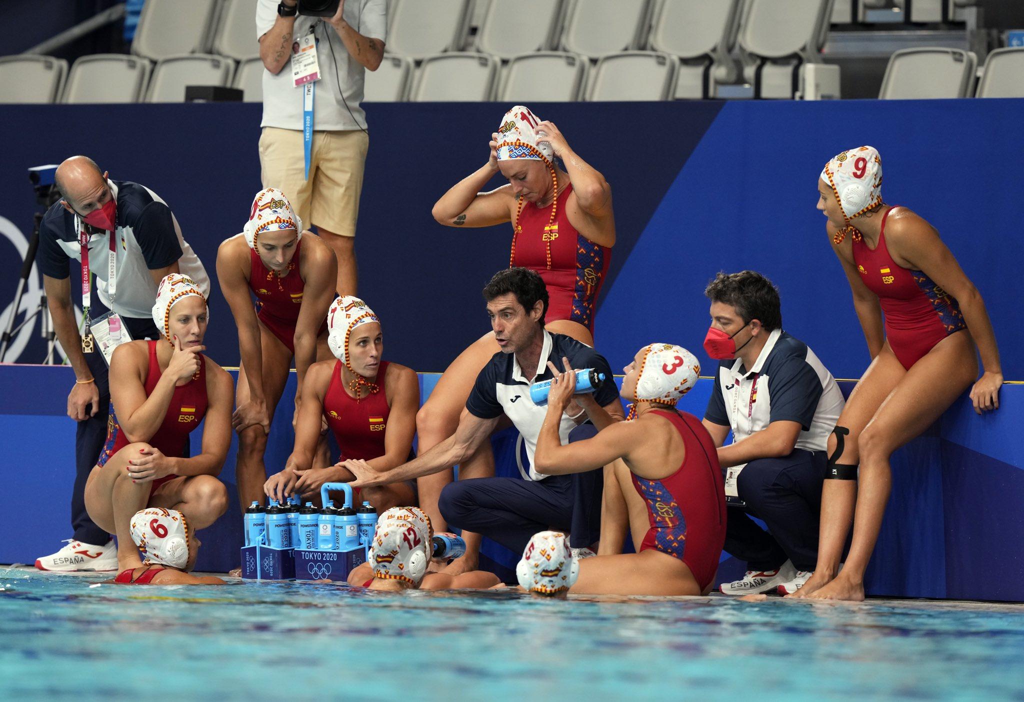 Les jugadores de la selecció espanyola en un partit dels JJOO | RFEN