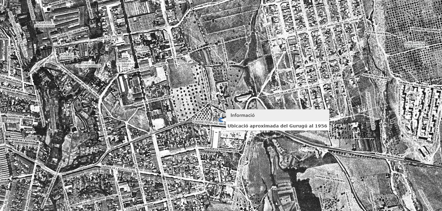 Mapa en què s'indica on s'ubicava el bordell Gurugú | Aj. Terrassa