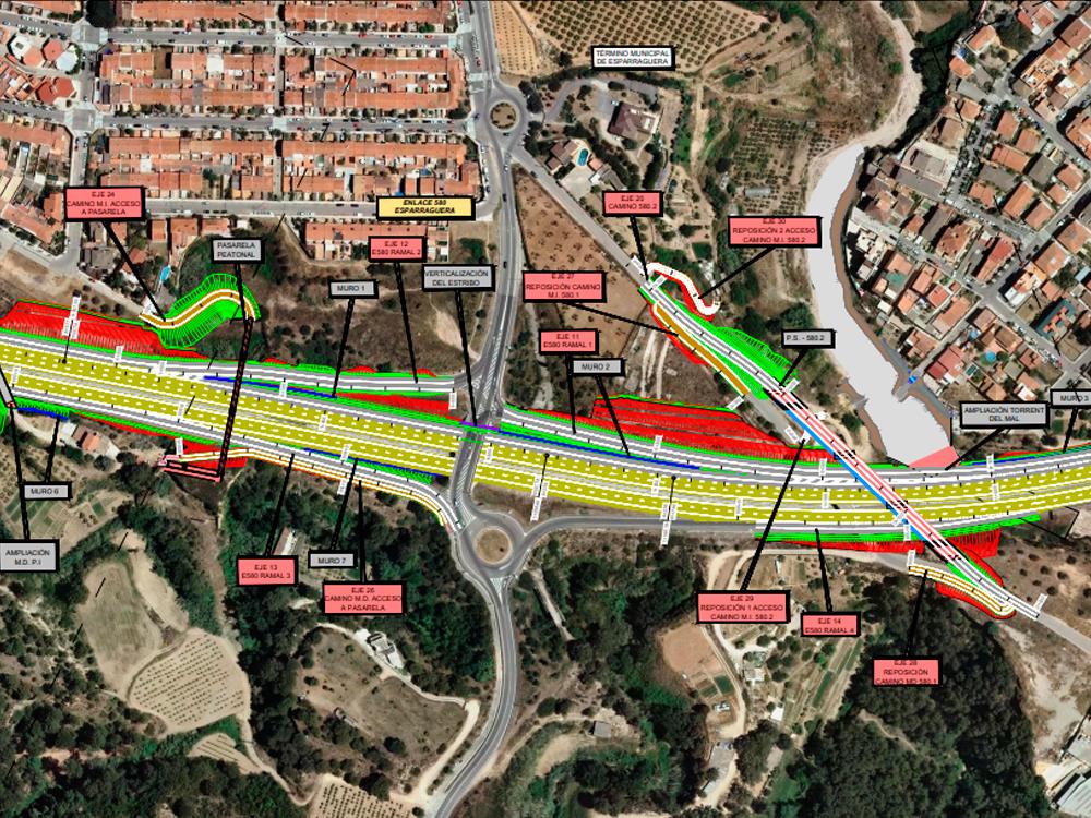 Plànol de la intervenció de l'A2 al terme municipal d'Esparreguera | Aj. Esparreguera