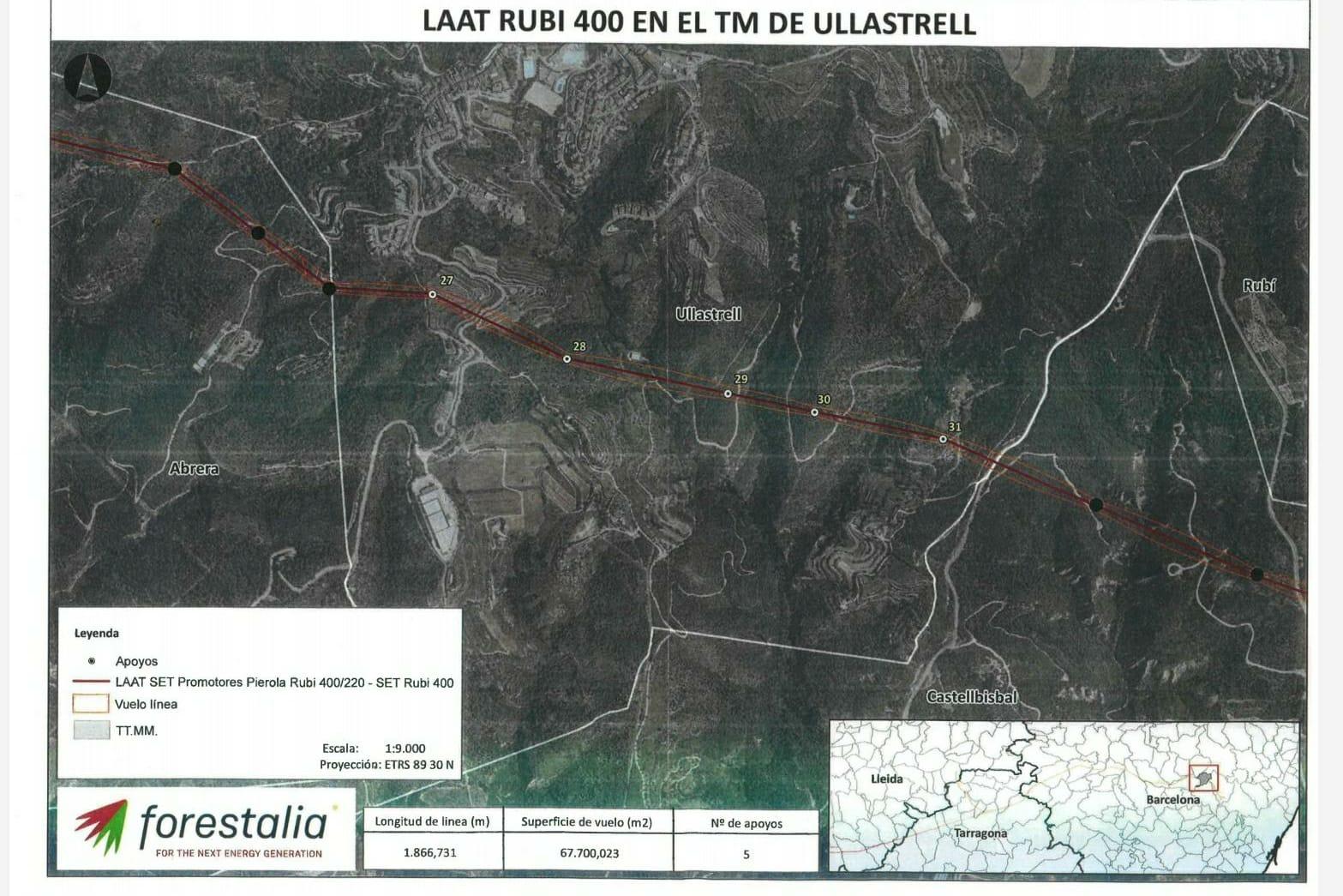 Plànol amb la projecció de la nova línia d'alta tensió que passaria pel mig d'Ullastrell   Aj. Ullastrell