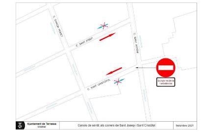 Mapa amb les afectacions en els dos carrers del Centre | Aj. Terrassa