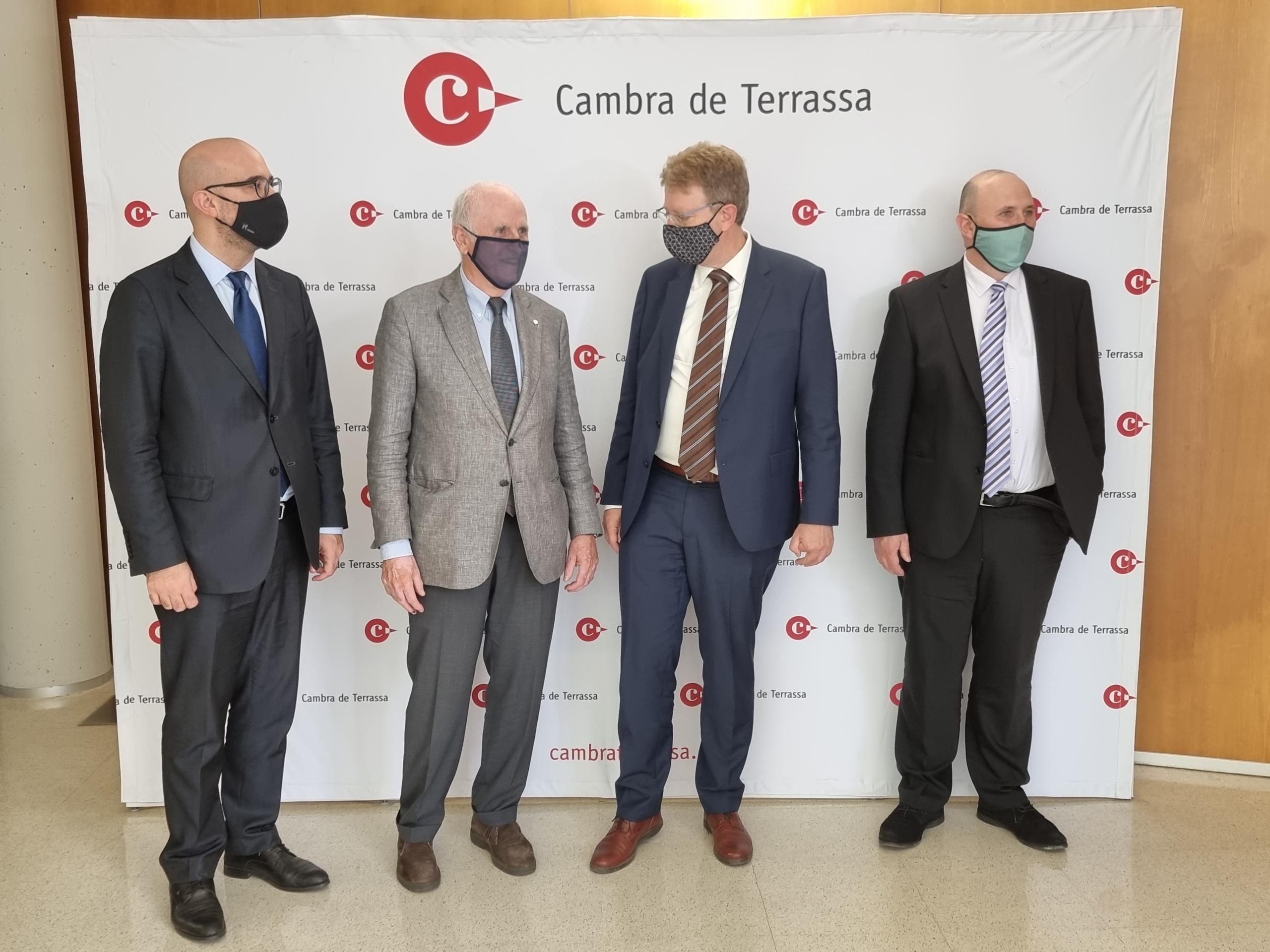 D'esquerra a dreta: Genís Boadella, Ramon Talamàs, Ferran Bel i Mateu Comalrena de Sobregrau | Cambra de Terrassa