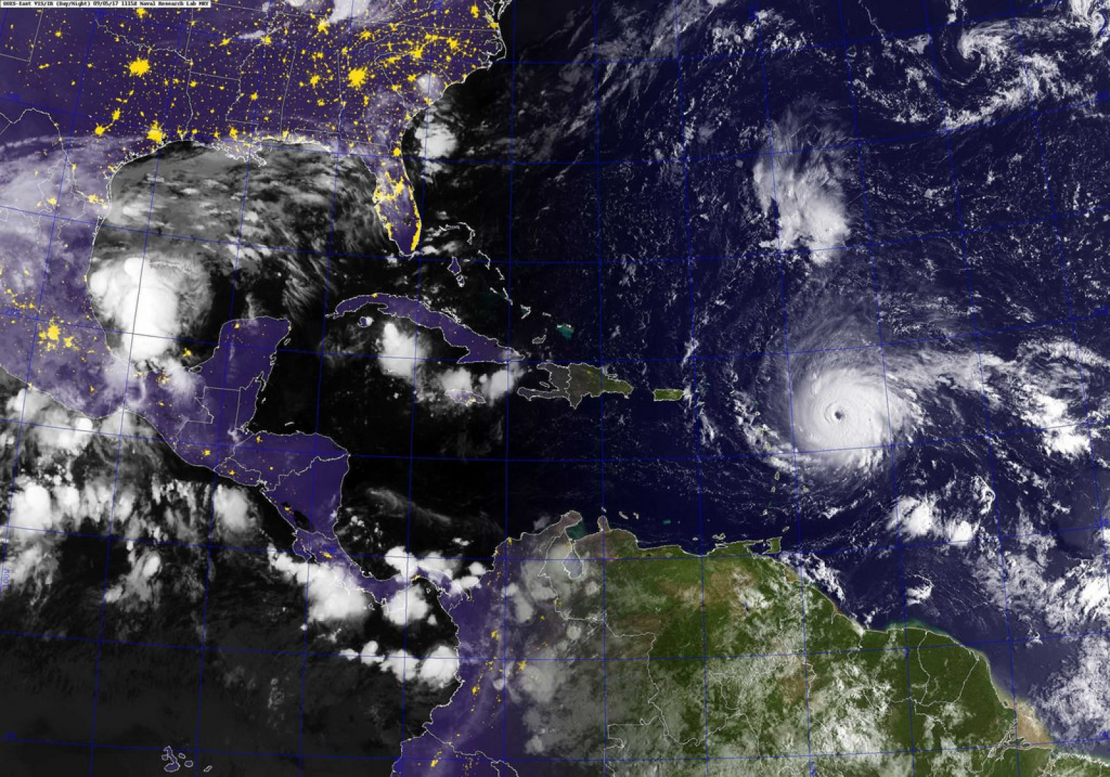 A GOES satellite shows Hurricane Irma, center, and Hurricane Jose, right, in the Atlantic Ocean, and Hurricane Katia in the Gulf of Mexico