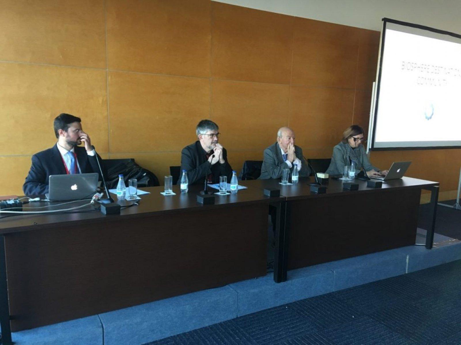 El regidor Agustí Colom (centre) amb representants de la Biosphere Destinations Community