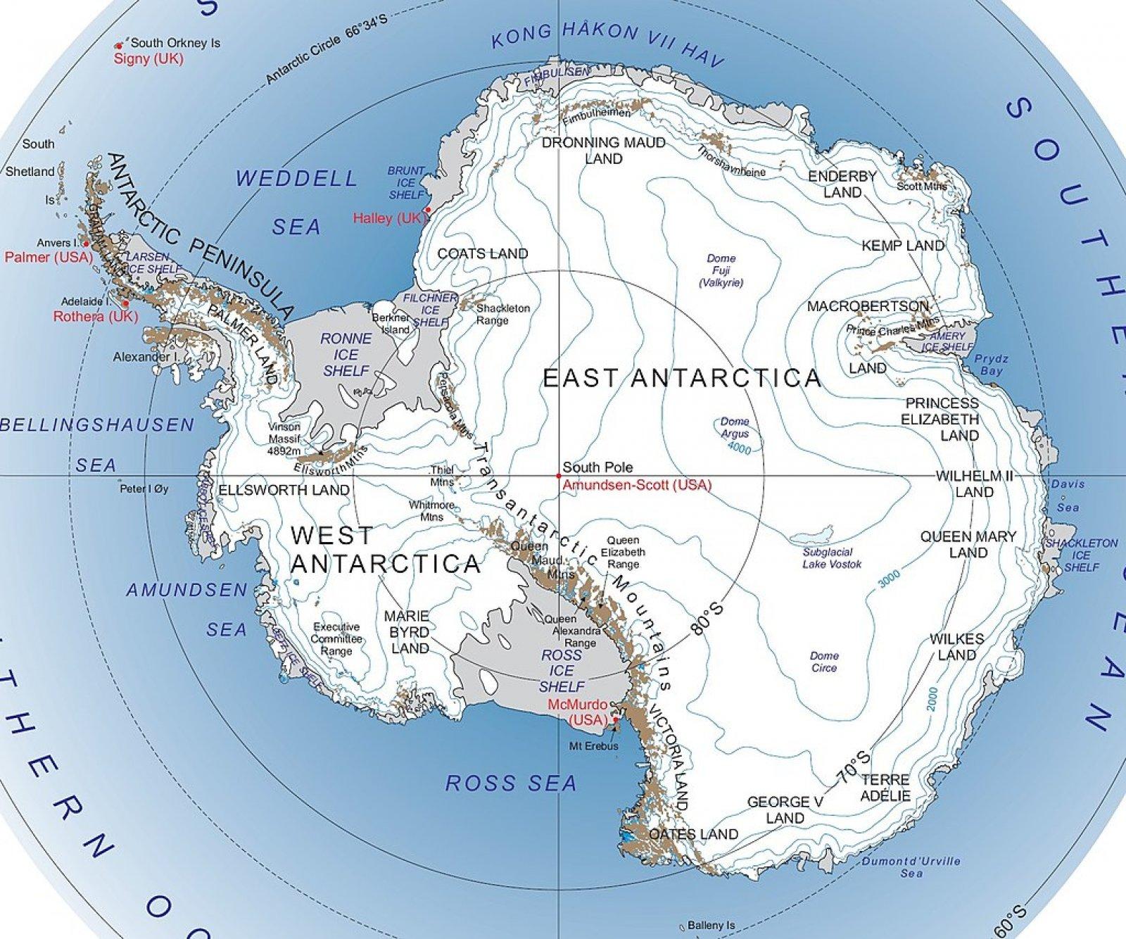 Mapa de l'Antàrtida