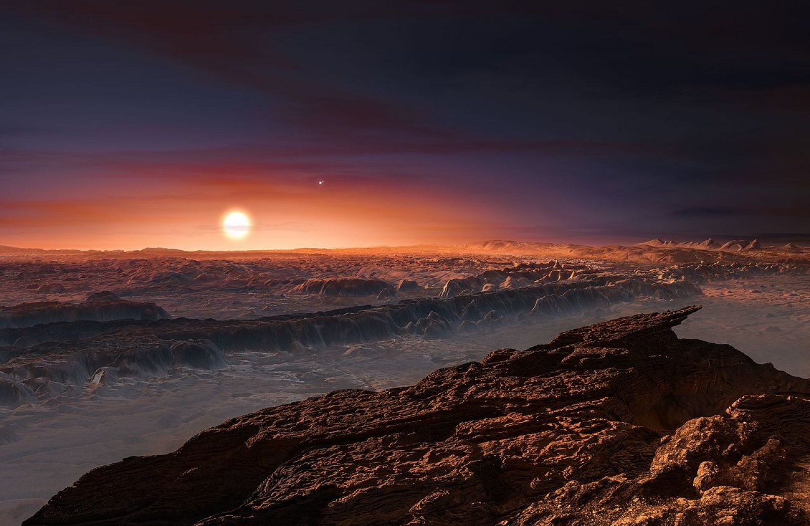 Vista artística de la superfície del planeta Pròxima b orbitant la nana vermella Pròxima Centauri