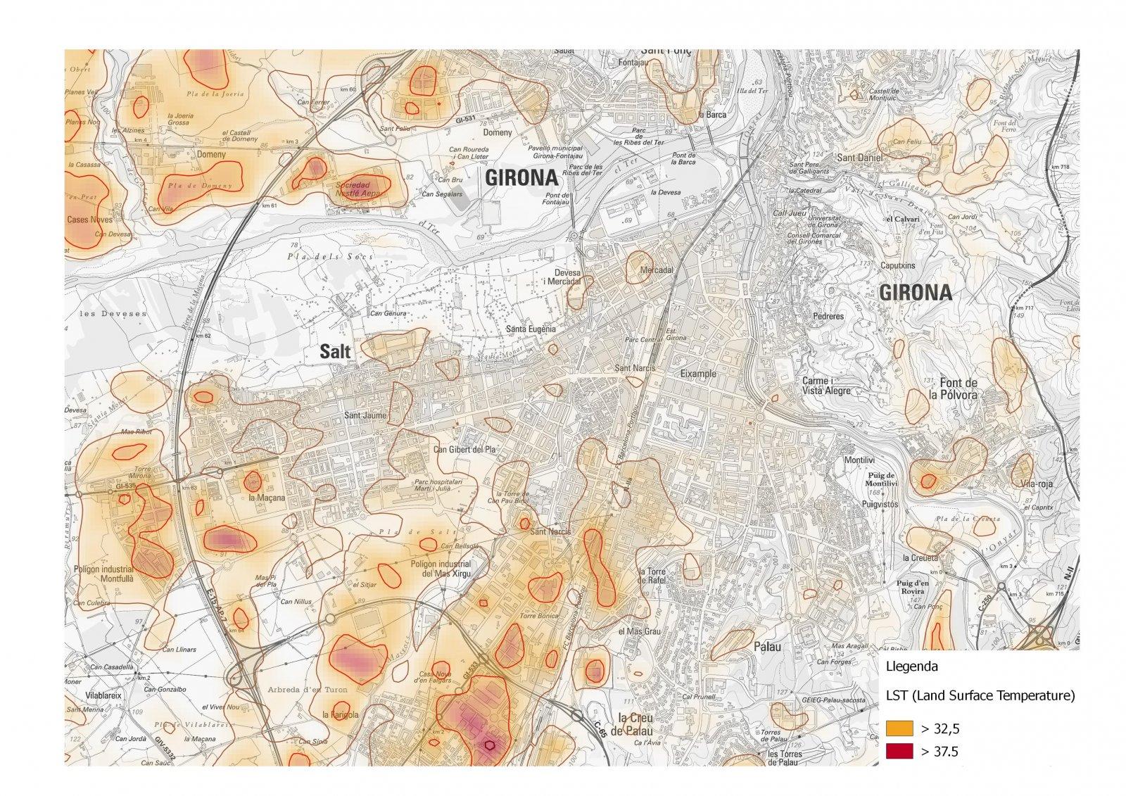 Detall del mapa de temperatures superficials corresponent a la ciutat de Girona