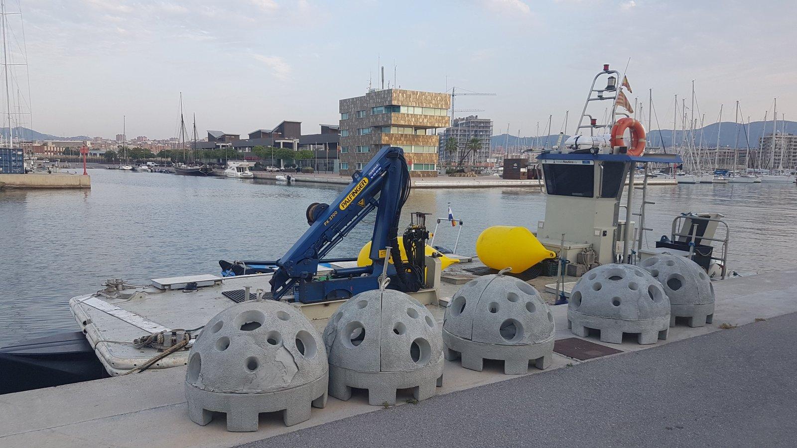 Els biòtops abans de ser col·locats al fons del mar