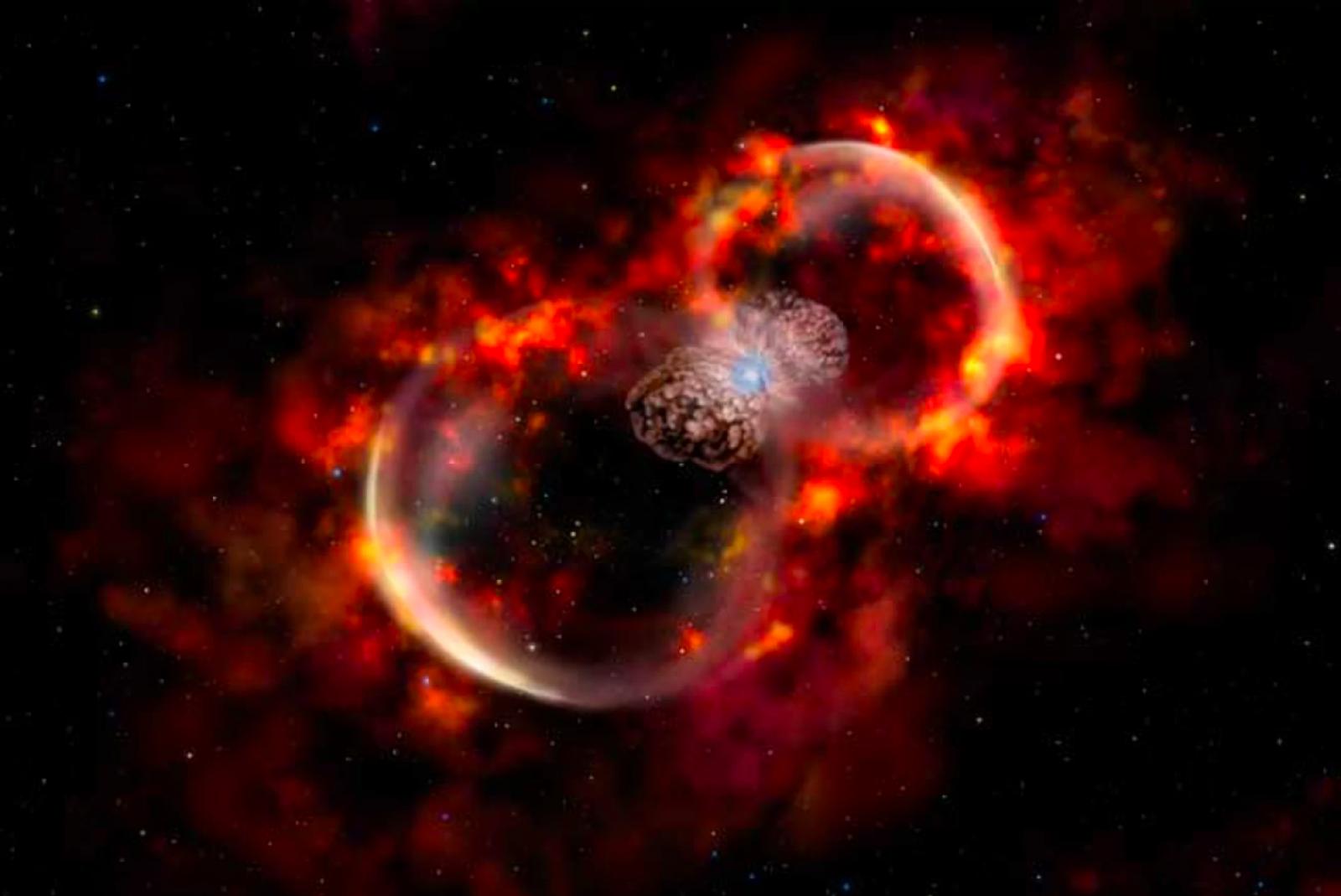 Les restes de l'explosió d'Eta Carinae vistes pel Telescopi Espacial Hubble