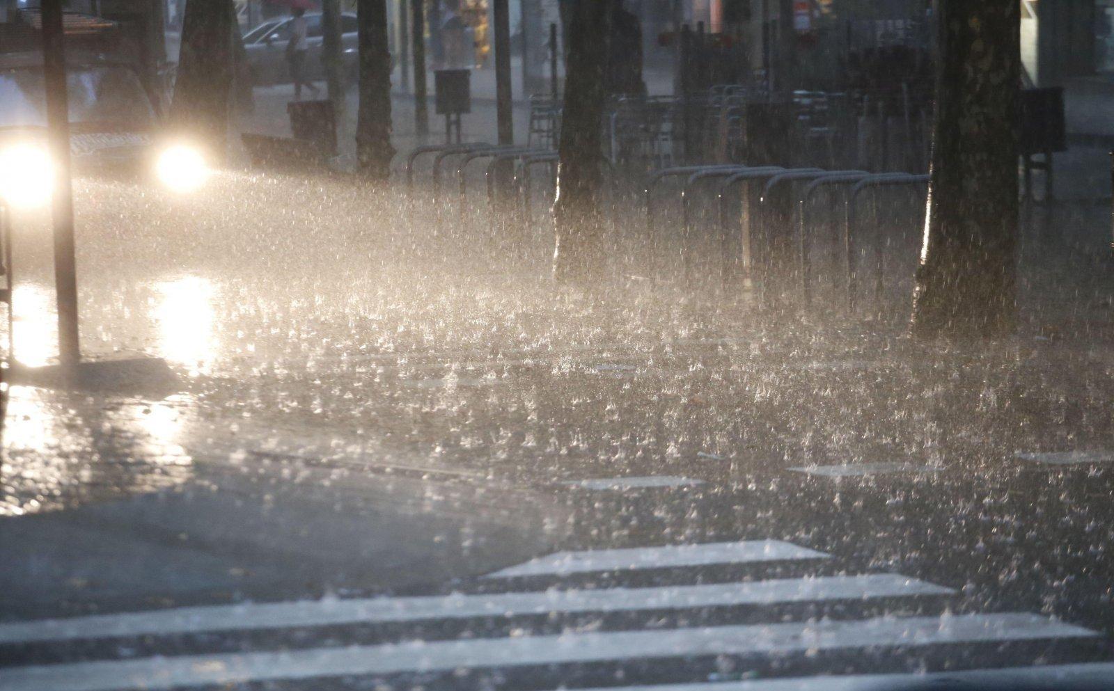 La Rambla de Terrassa en un dia de pluja