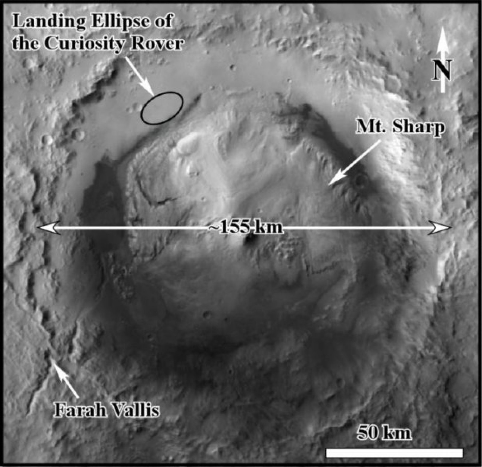 El cràter Gale, on s'han trobat les proves de grans inundacions a Mart fa milions d'anys