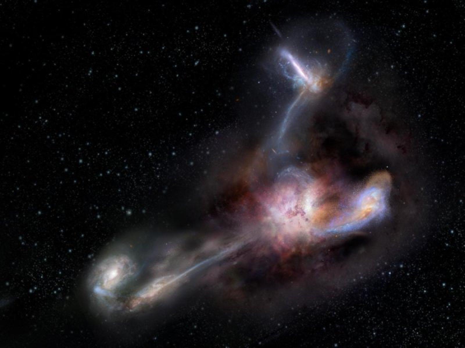 Representació artística de la interacció entre la galàxia gran i les seves companyes