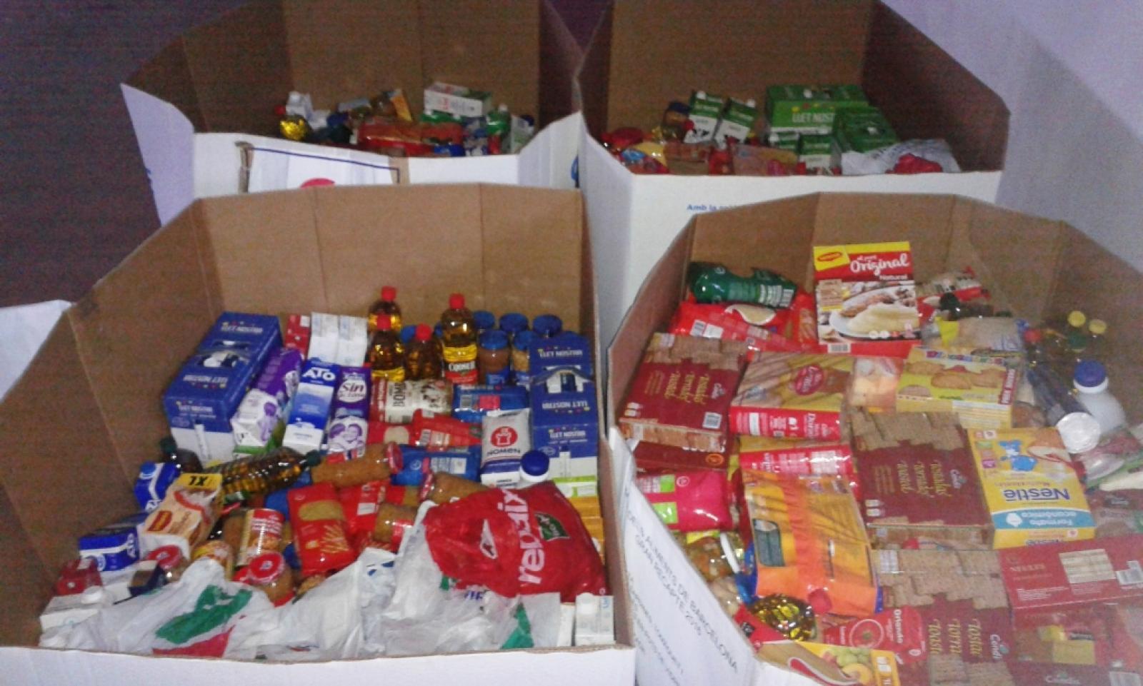 Una mostra dels aliments recollits a Vacarisses en motiu del Gran Recapte