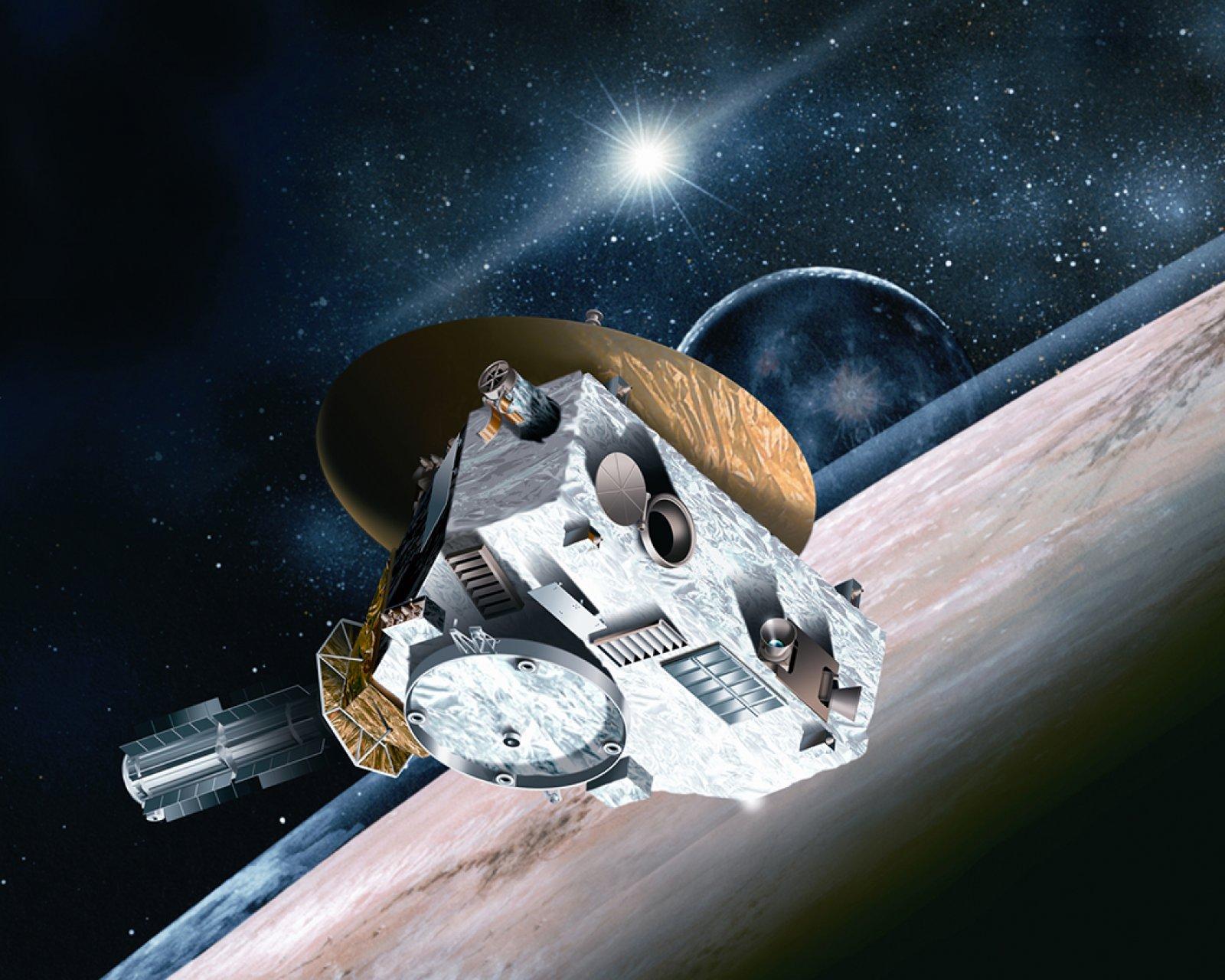 Reconstrucció artística del pas de la sonda New Horizons per Plutó