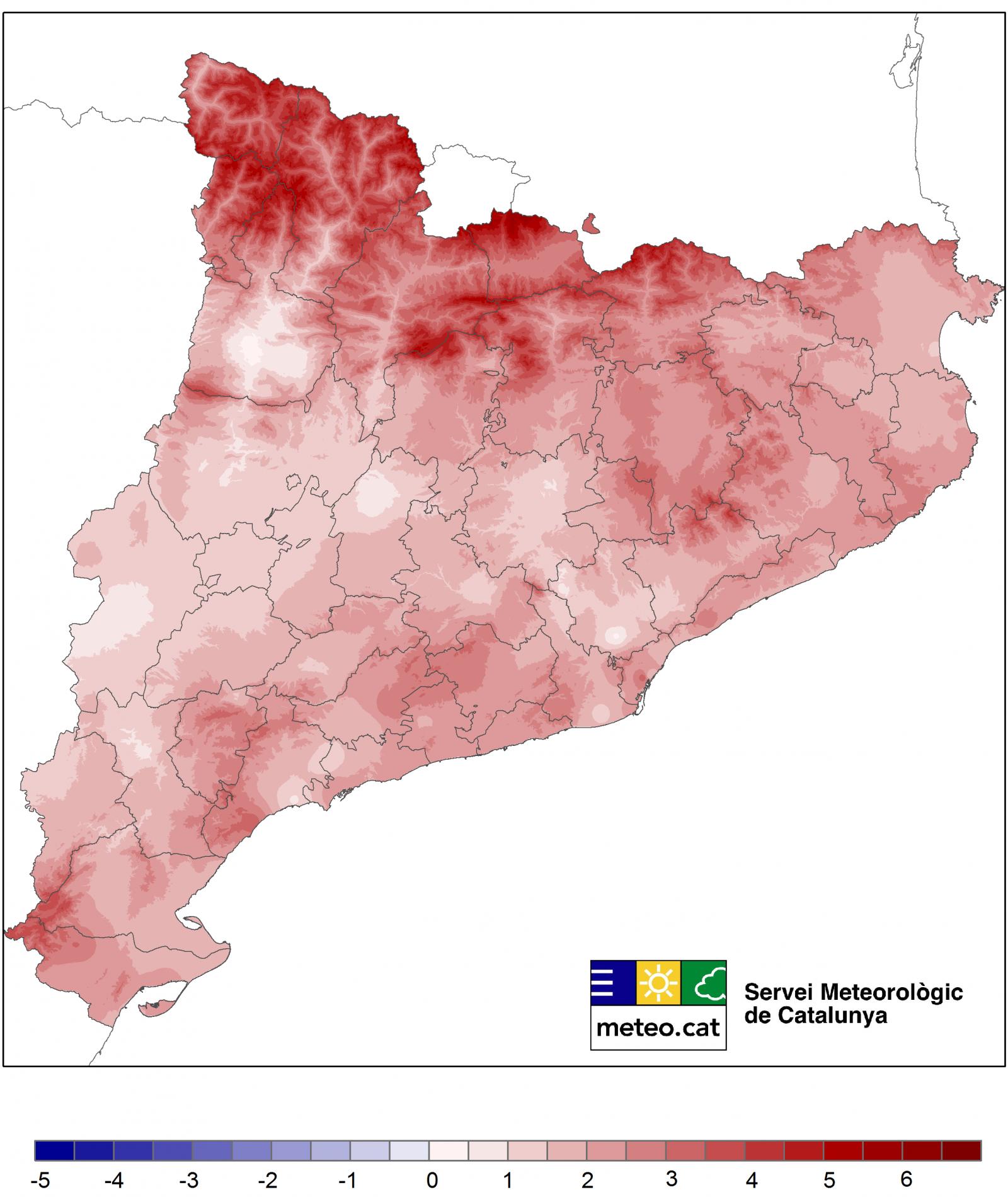 Diferència entre la temperatura mitjana i la climàtica del passat mes de desembre de 2018