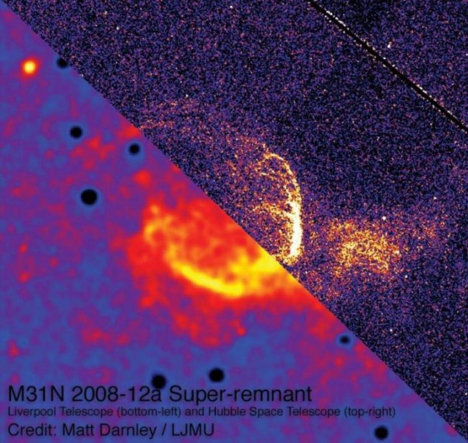 Imatge composta de les dades del Telescopi de Liverpool (inferior esquerre) i el Telescopi Espacial Hubble (superior dret)