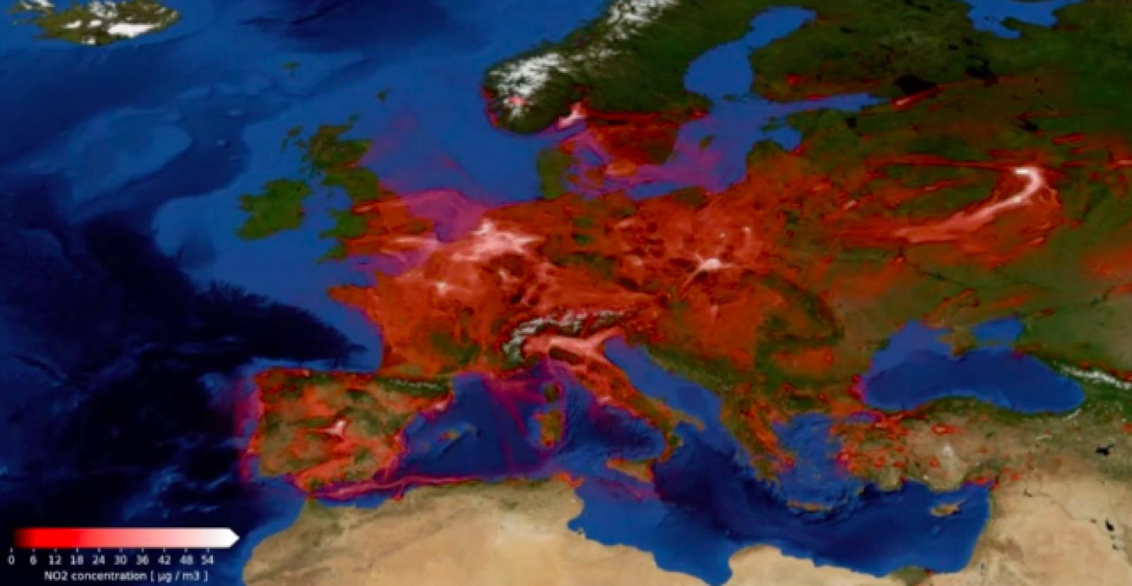 El moviment de la pol·lució per diòxid de nitrogen a Europa