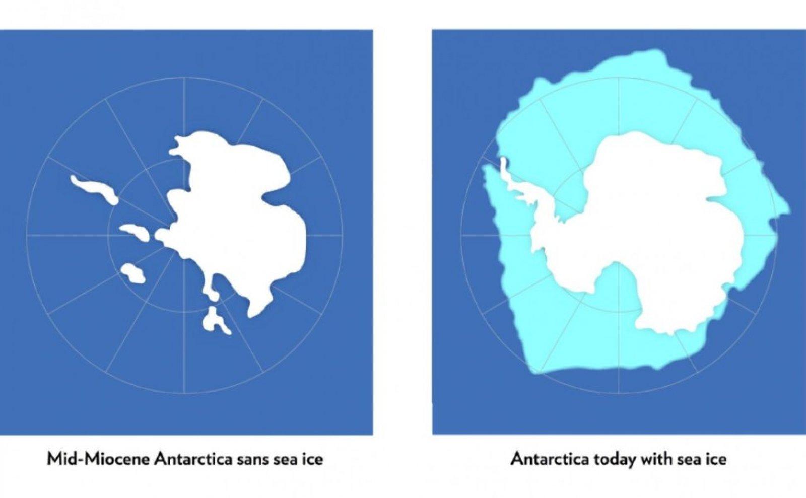 Comparativa entre l'Antàrtida de fa 15 milions d'anys i l'actual.