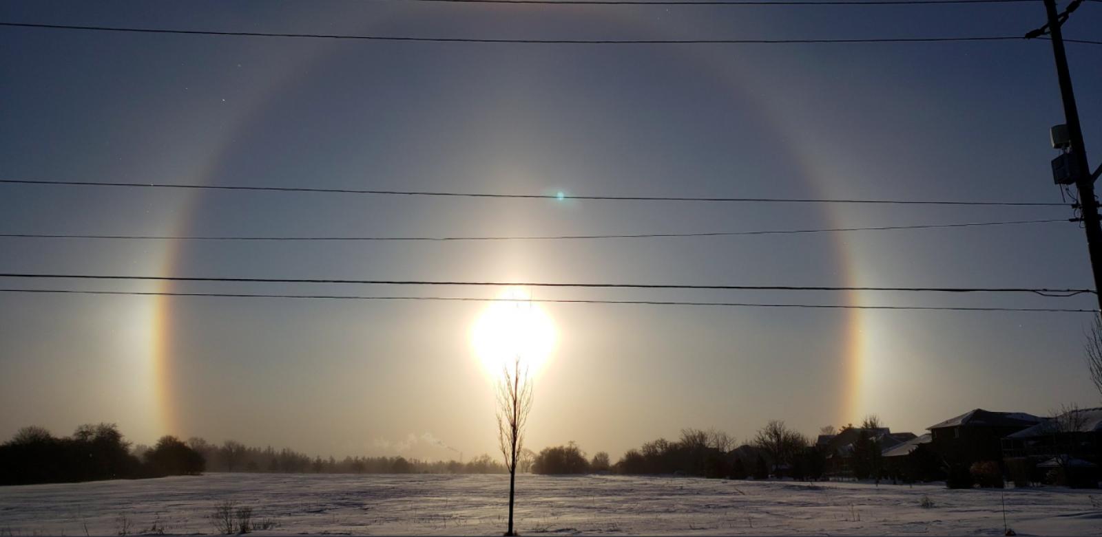 Parheli durant el temporal de fred polar als Estats Units
