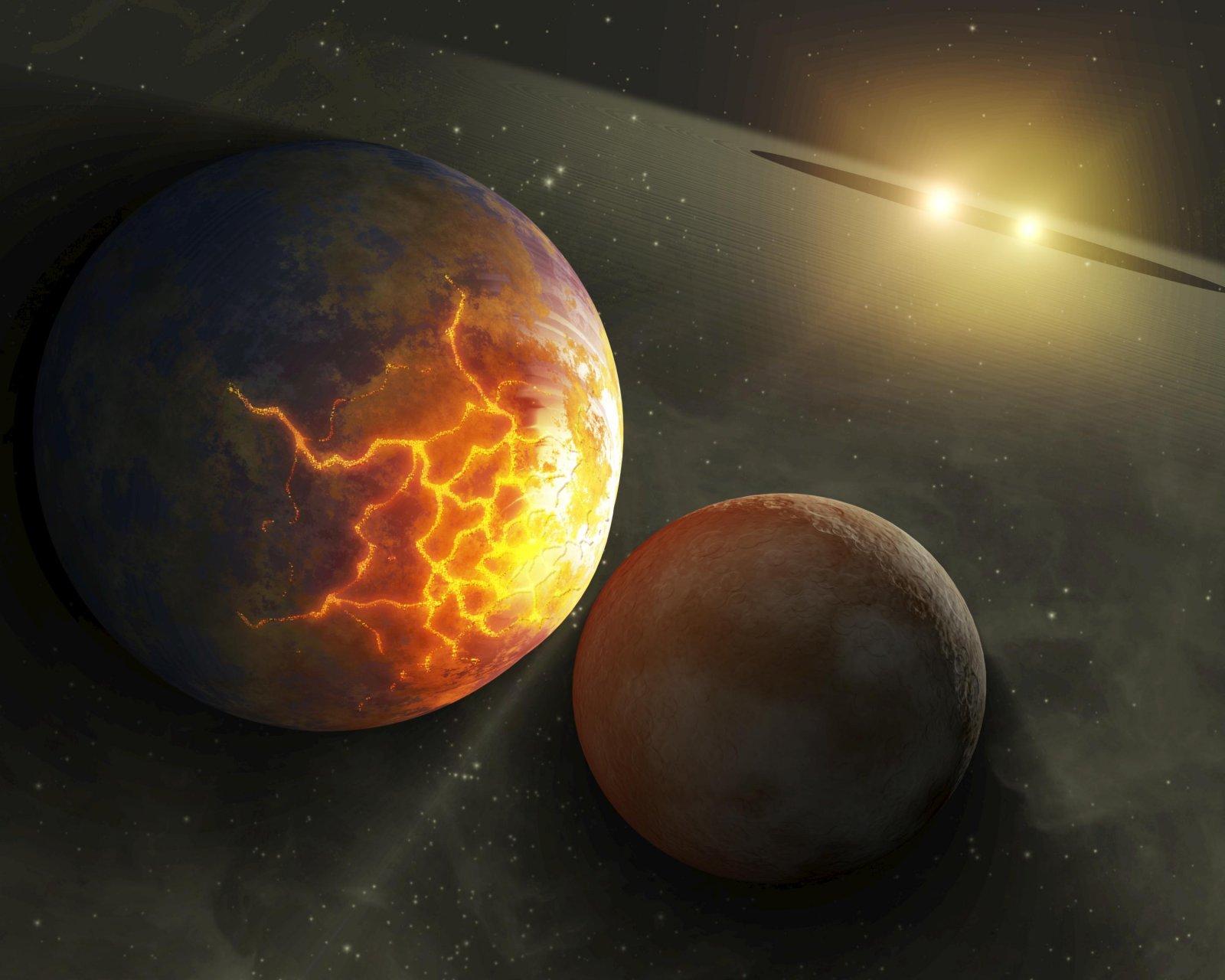 Recreació artística de la col·lisió de dos planetes en un sistema binari