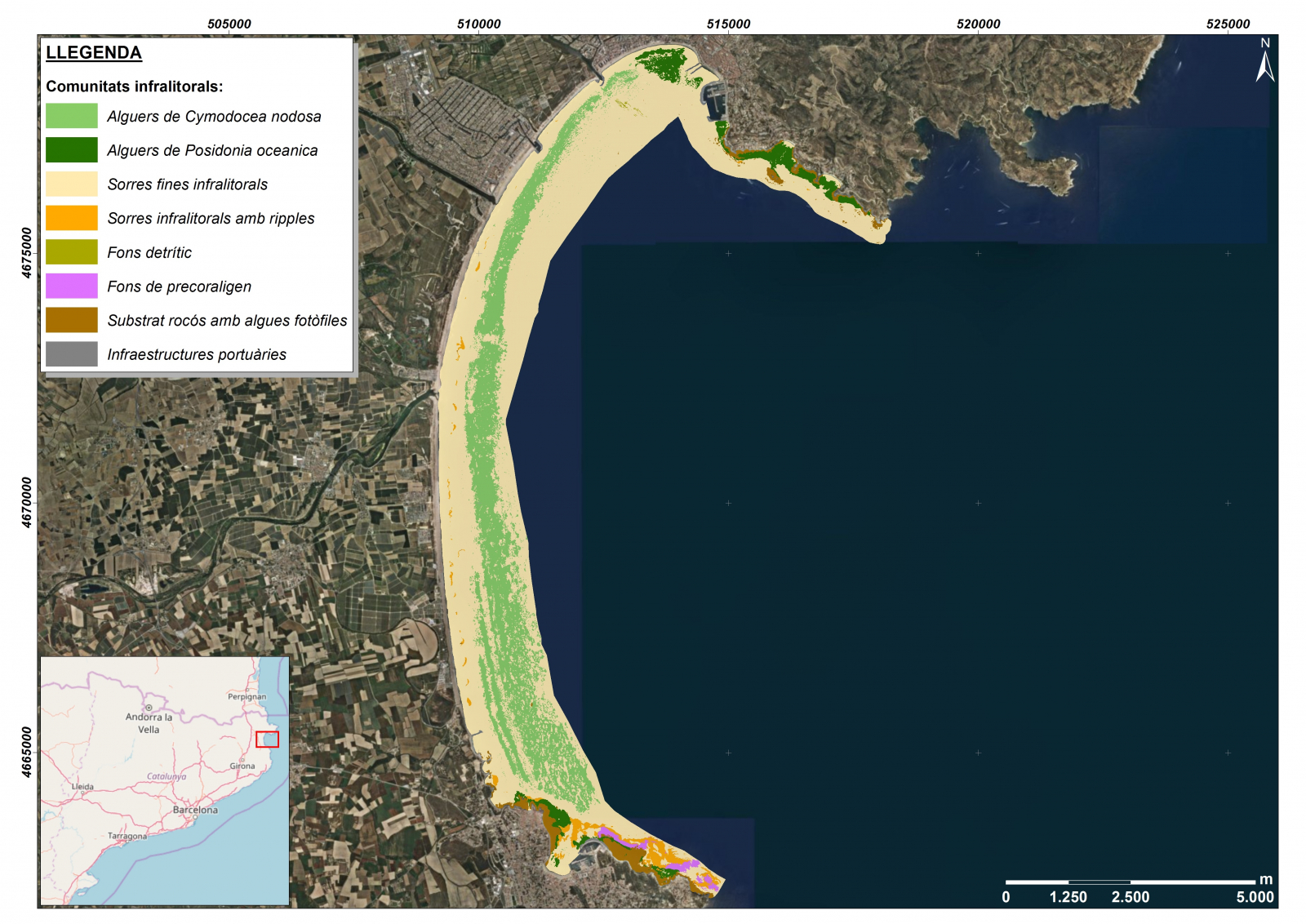 Distribució de les diferents algues i altres elements del fons marí a la badia de Roses