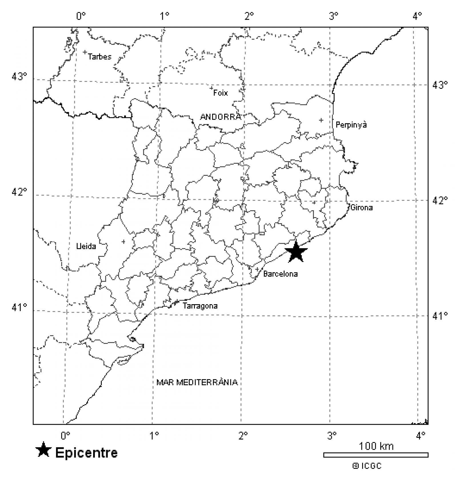 Localització de l'epicentre del terratrèmol del Maresme