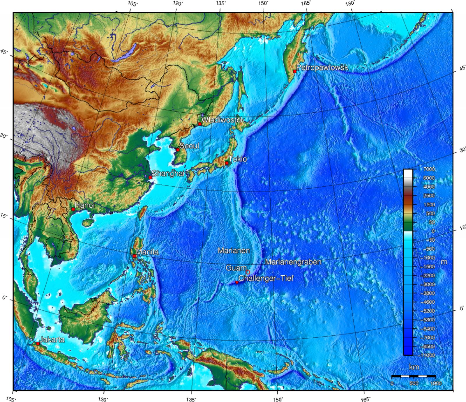 Ubicació de la fossa de les Marianes a l'oceà Pacífic