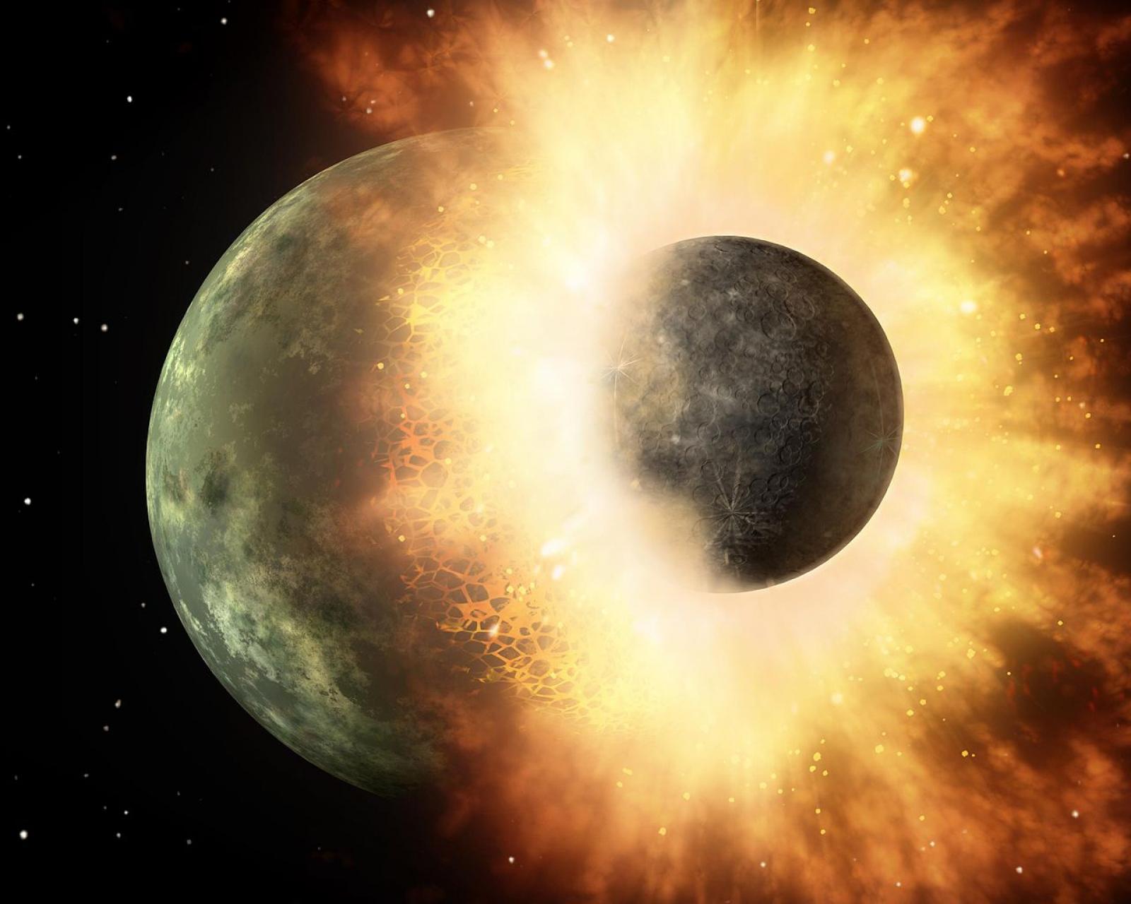 Un impacte com aquest podria haver estat el causant tant de la formació de la Lluna com de l'arribada de l'aigua a la Terra