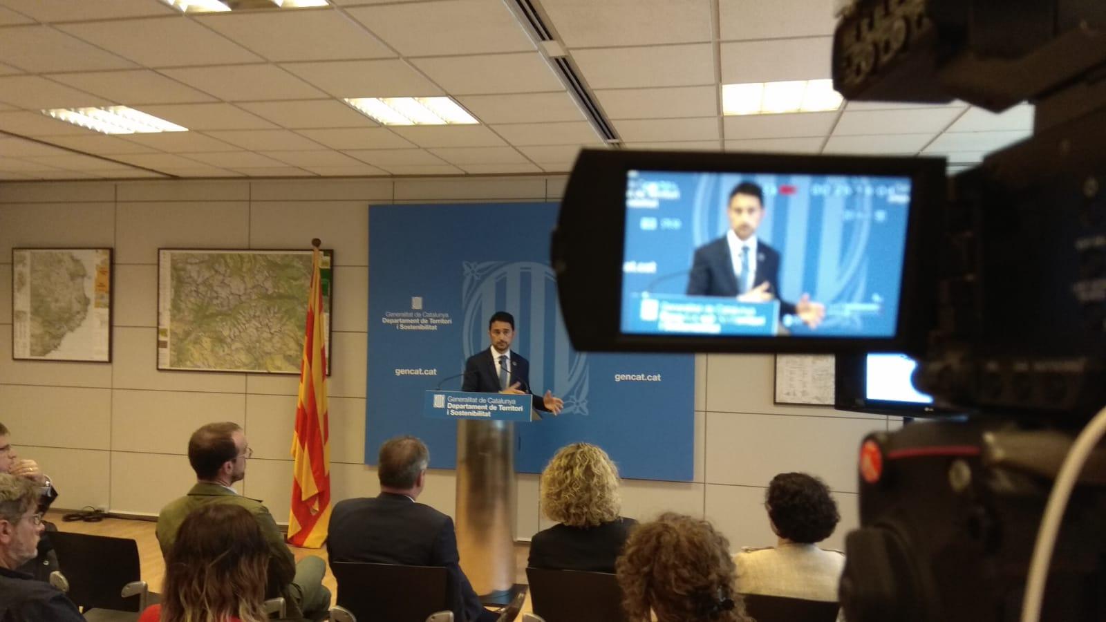 El conseller Calvet durant la presentació de la campanya