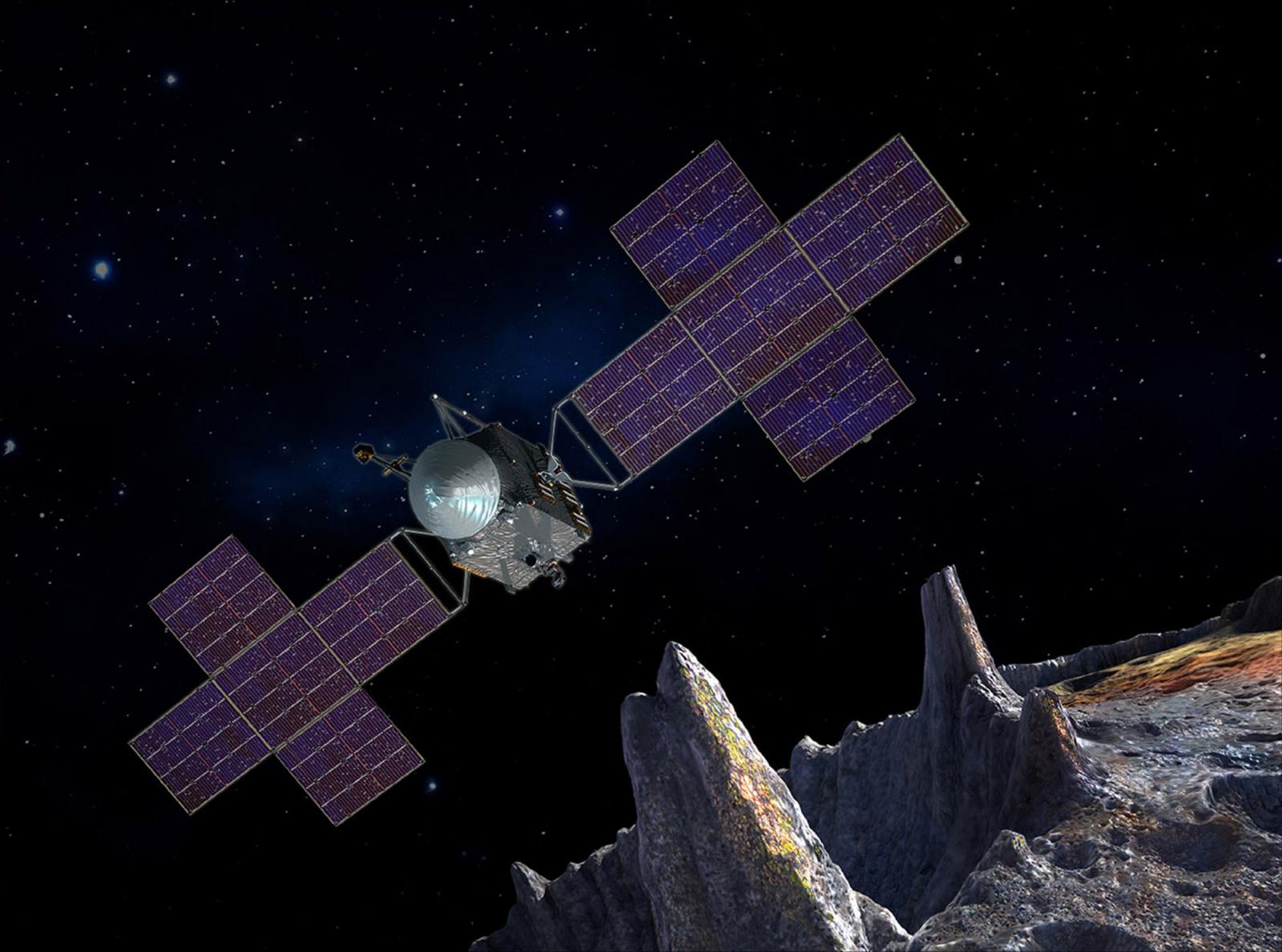 Representació artística de la sonda Psyche arribant a l'asteroide que li ha donat nom