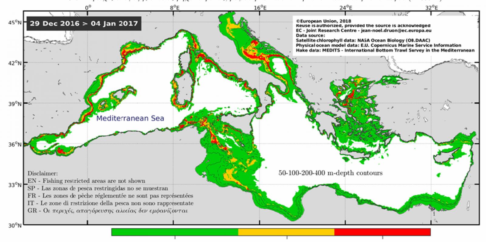 Monitoratge internacional sobre arrossegament de fons a la Mediterrània realizat amb satèl·lits del projecte Copèrnic