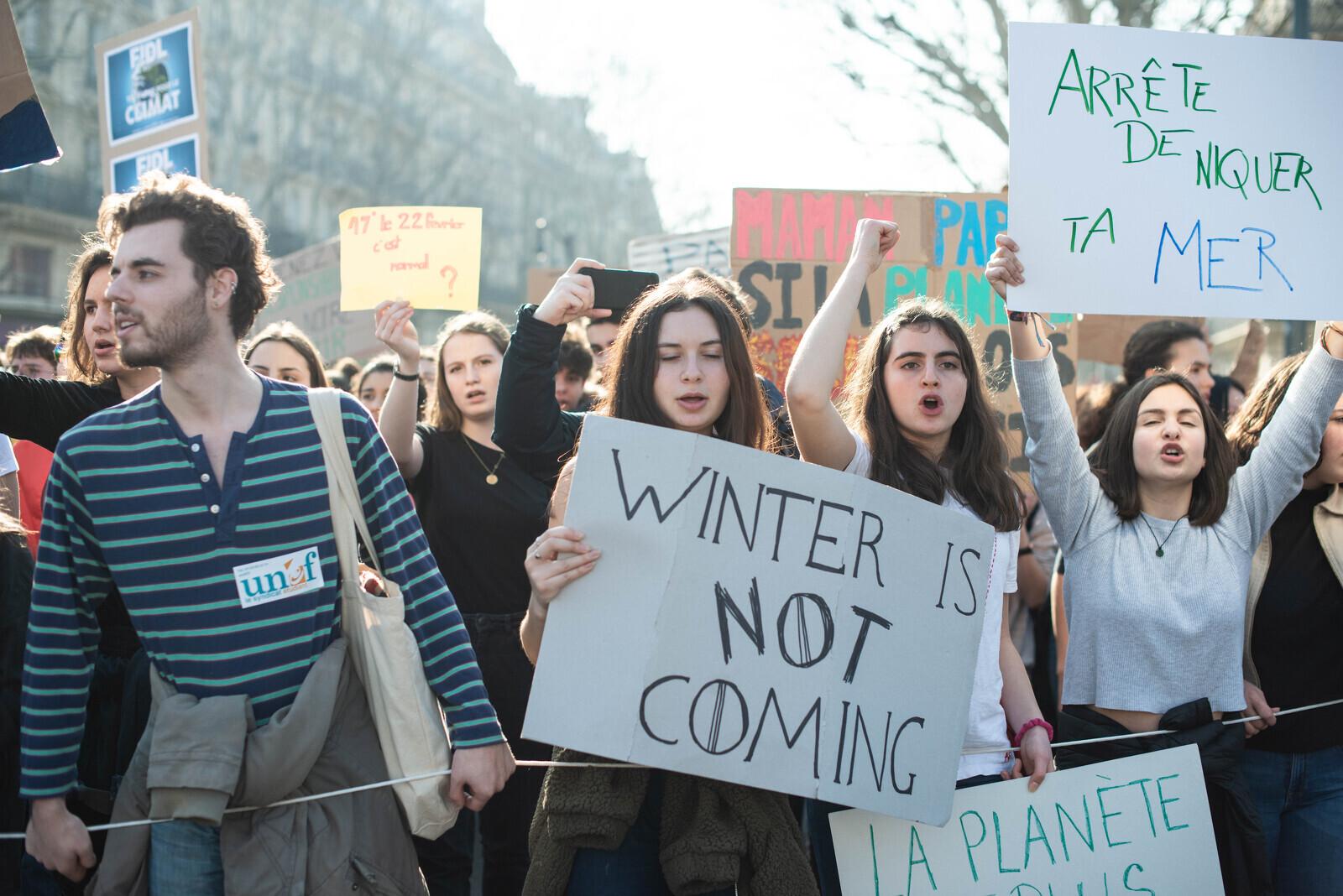 Manifestació a París durant la Vaga pel Clima del febrer de 2019