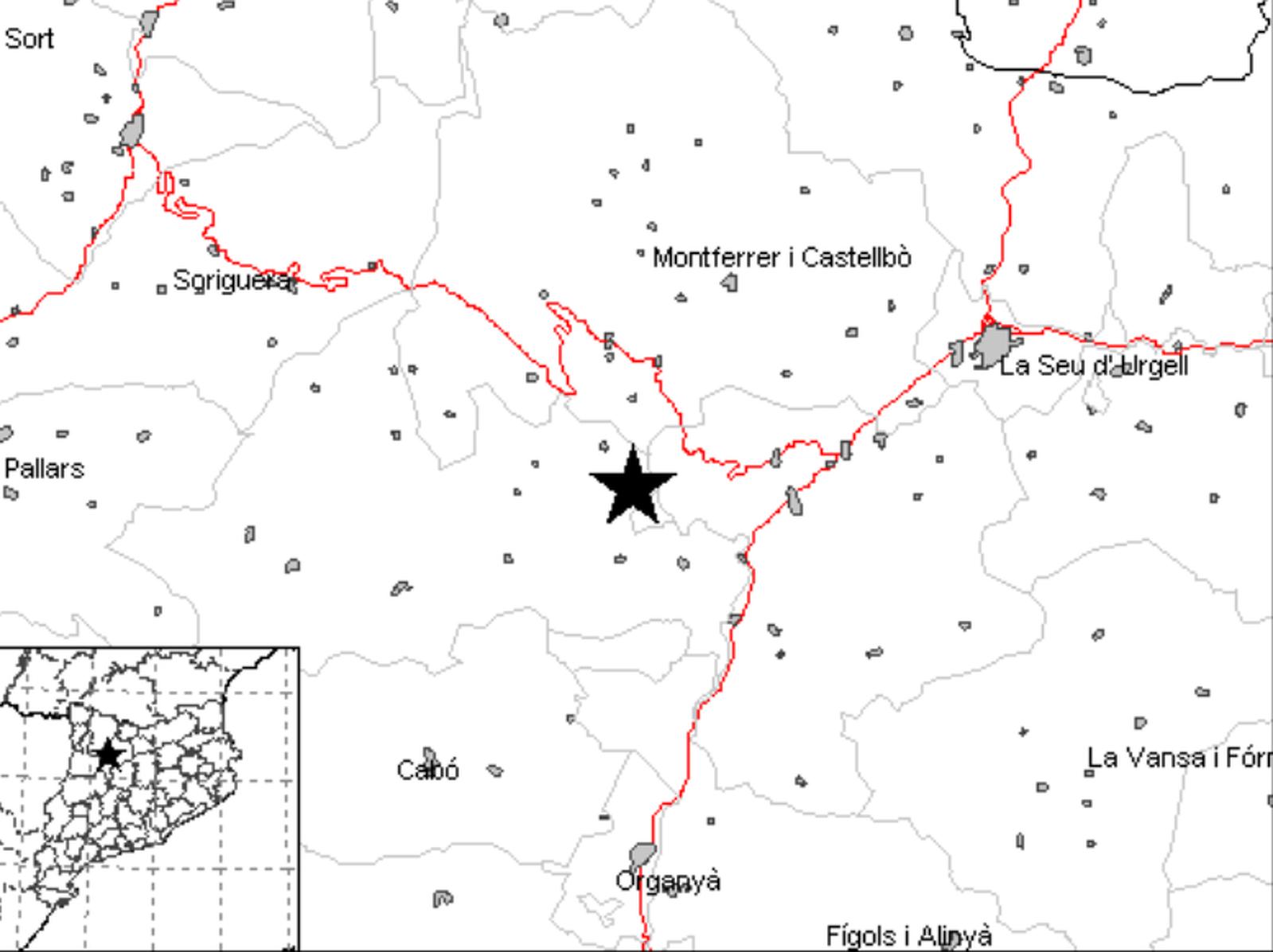Mapa de l'Institut Cartogràfic i Geològic de Catalunya amb l'epicentre del sisme