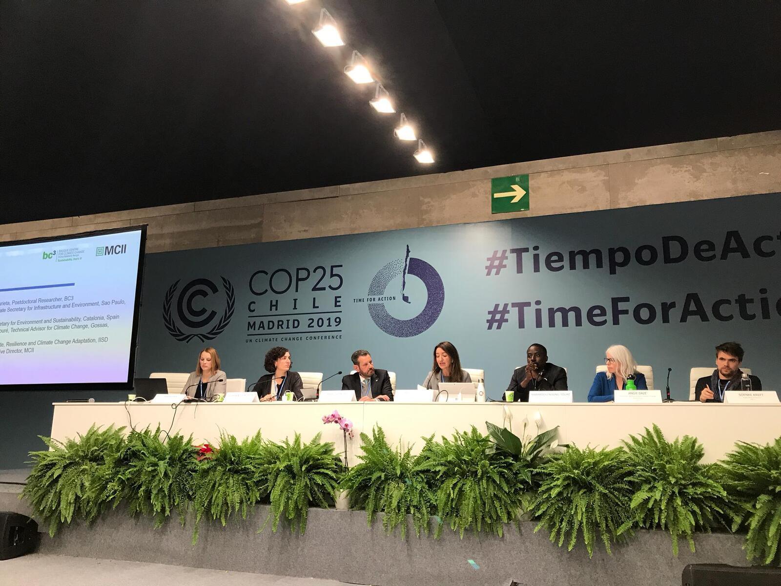 La secretària de Medi Ambient i Sostenibilitat, Marta Subirà, prenent part en un acte de la COP25