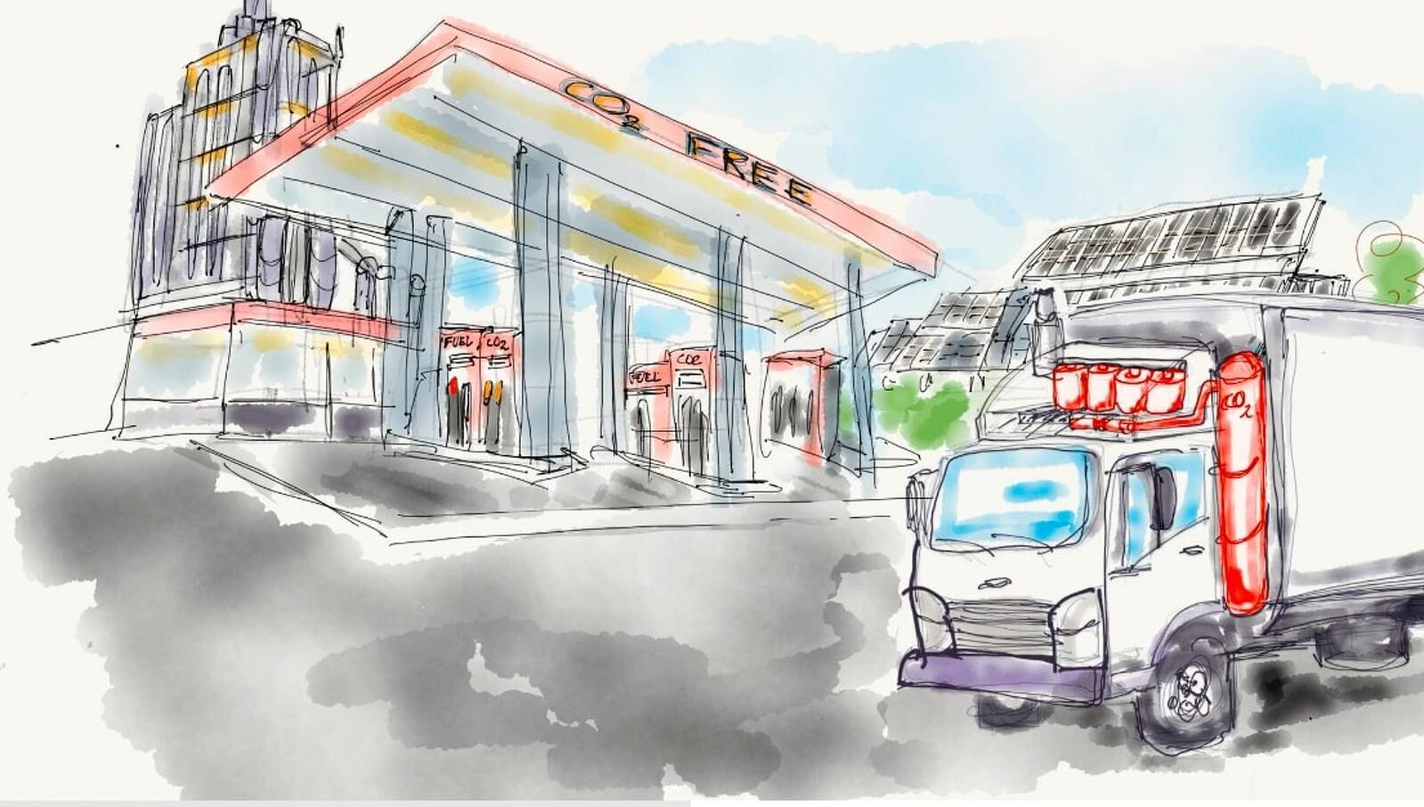 Dibuix d'un camió, equipat amb el nou sistema, arribant a una gasolinera on podria descarregar el CO2 líquid