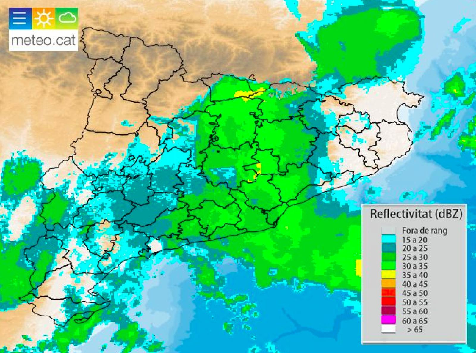 Radar meteorològic d'aquest divendres a mig matí
