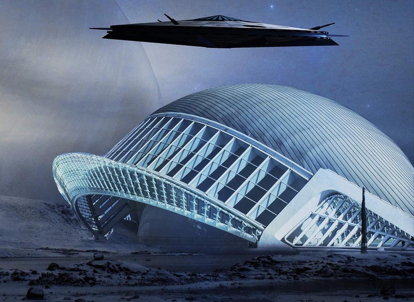 Representació d'una nau i un edifici d'una civilització alienígena