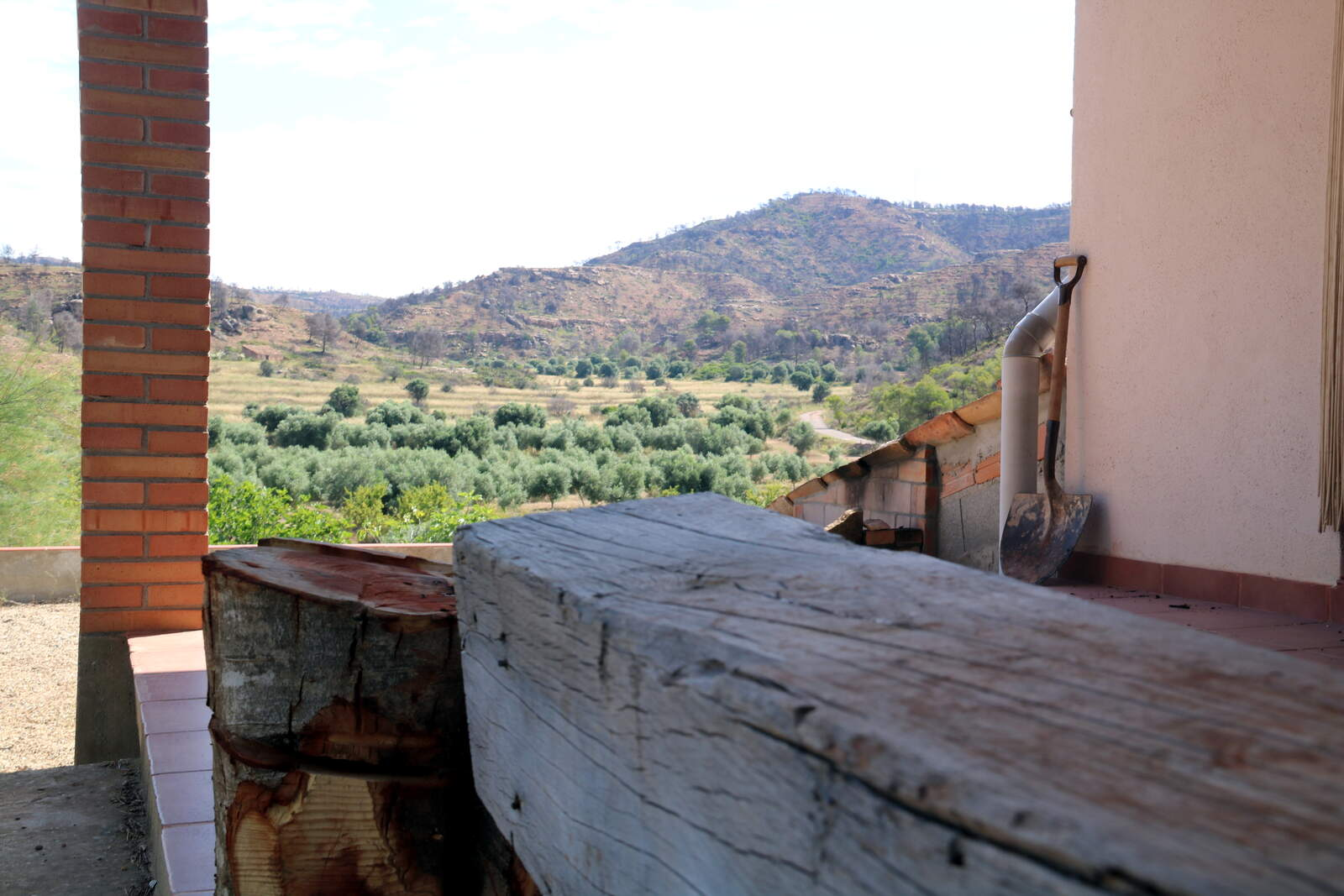 L'entrada a la masia de Lurdes Masot, que es va salvar del foc perquè estava envoltada d'oliveres conreades