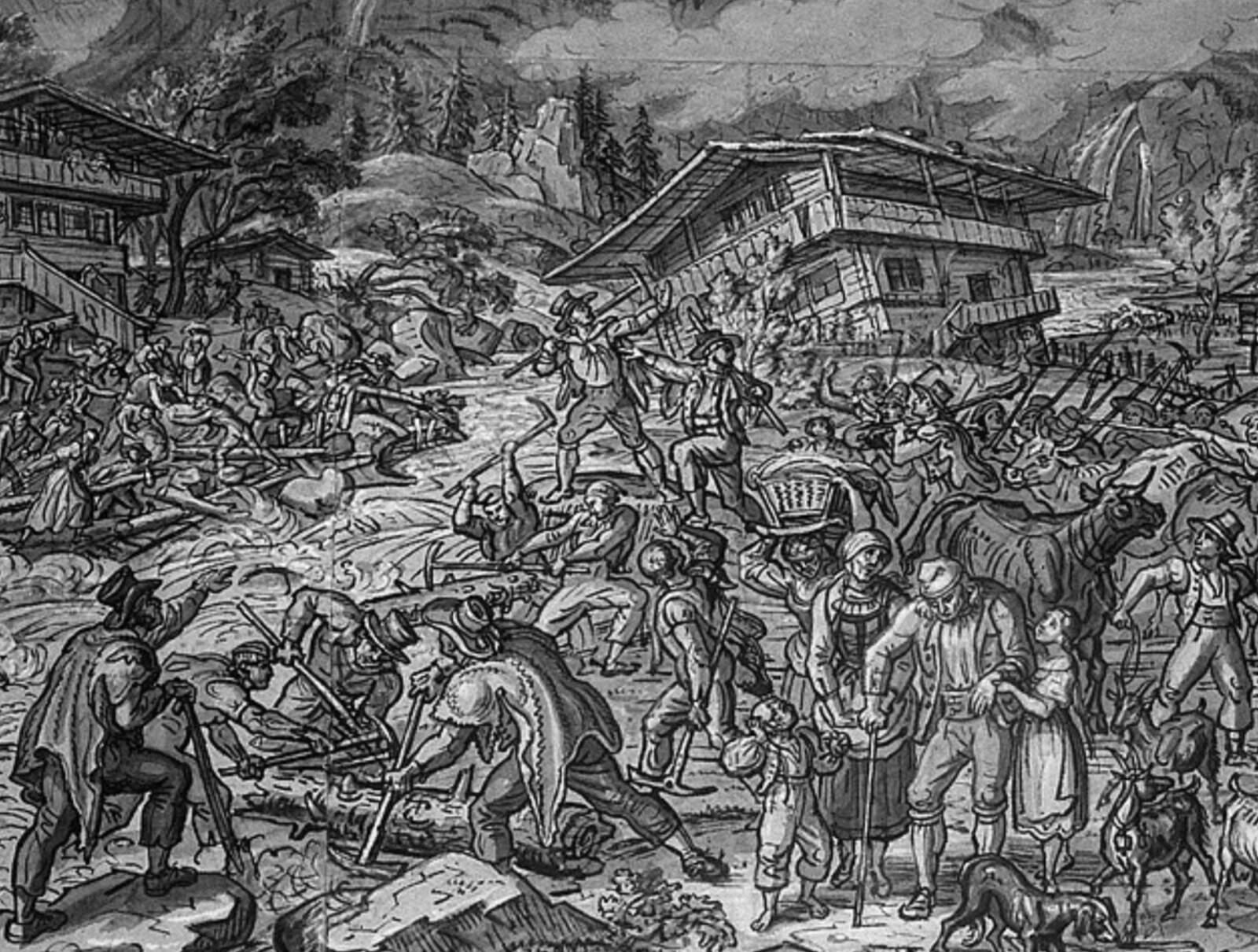 Dibuix a tinta de les inundacions de Brienz de 1846