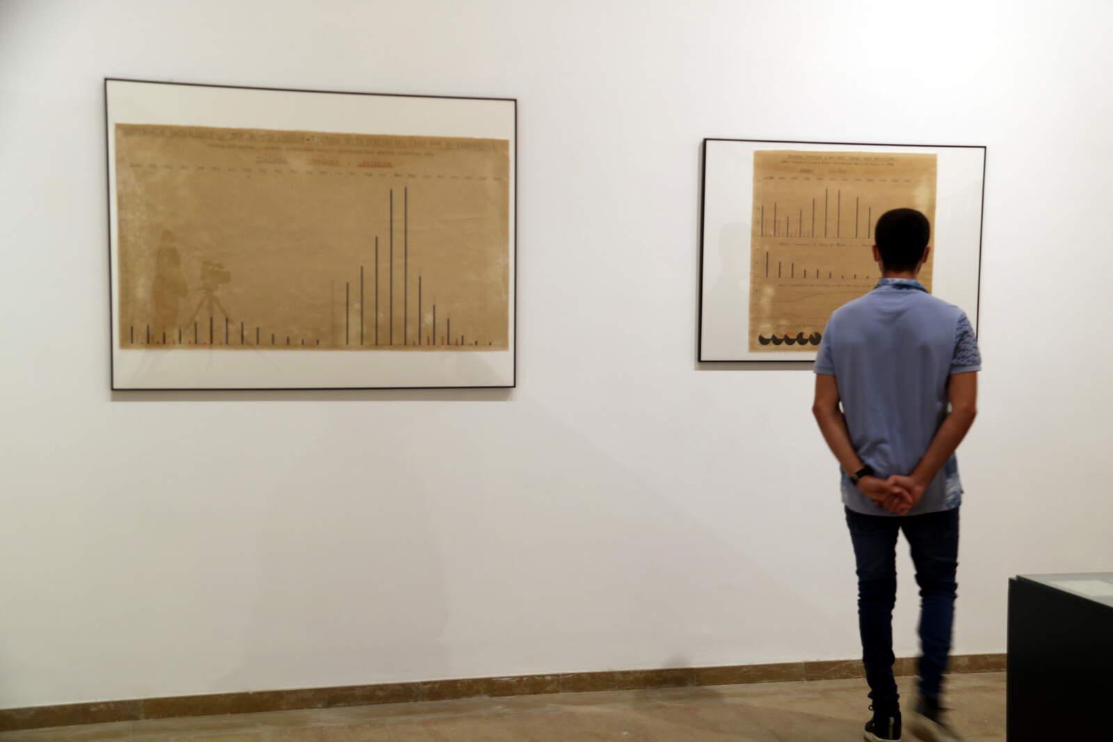 Un visitant revisant els gràfics sobre l'afectació del paludisme al Delta del doctor Canicio en l'exposició del Museu de les Terres de l'Ebre d'Amposta