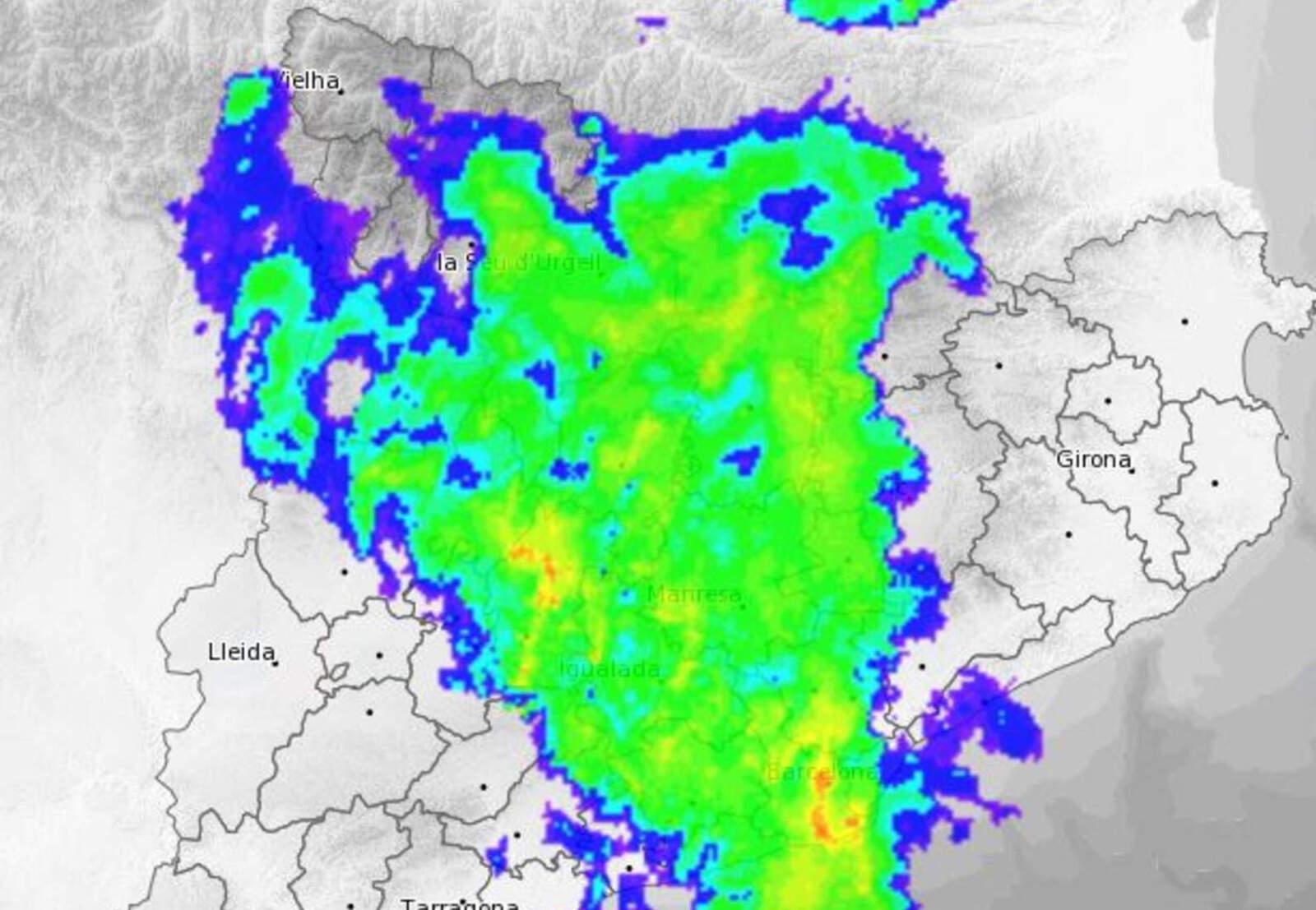 La previsió de pluges a Catalunya