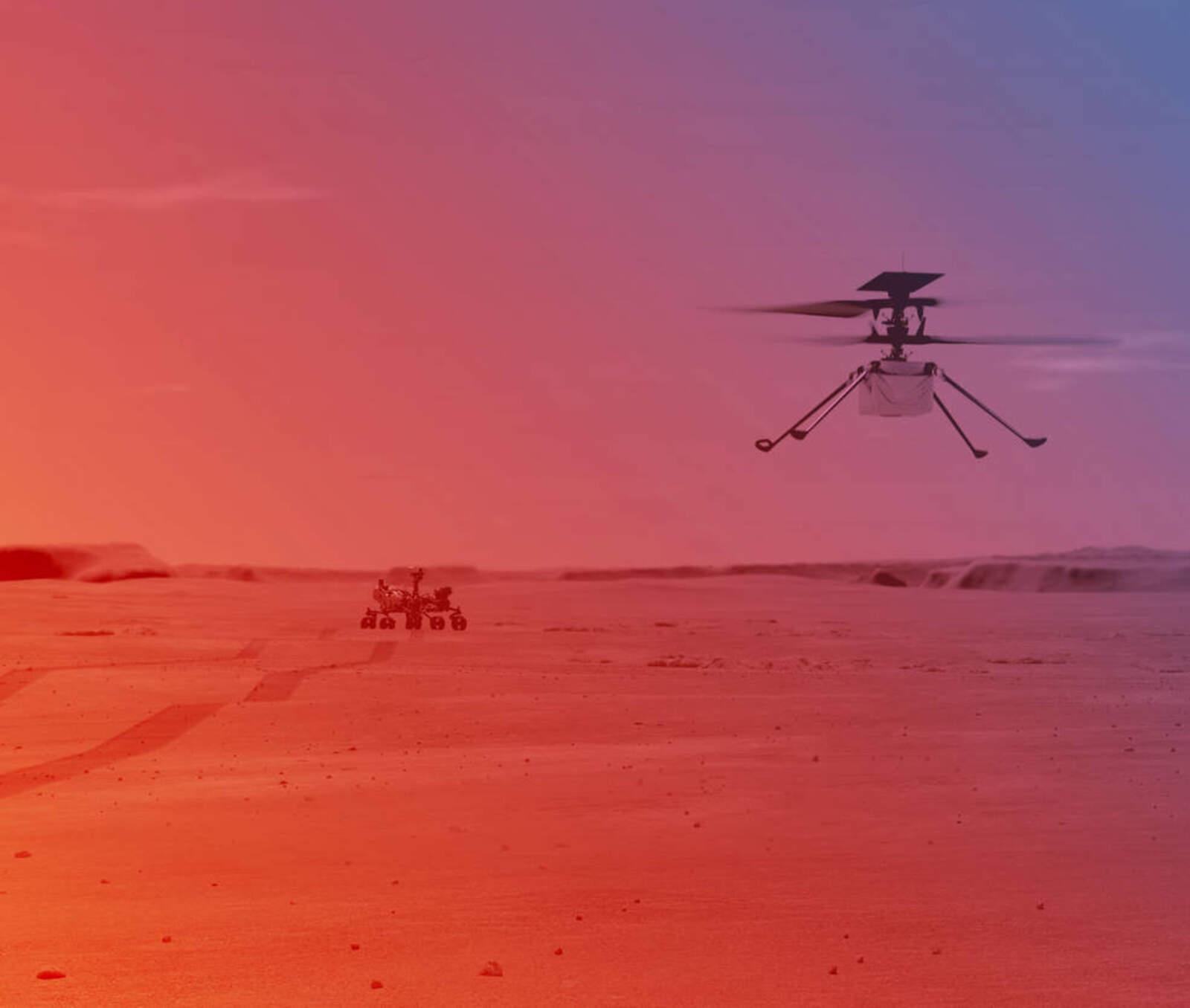 Il·lustració de l'Ingenuity volant a la superfície de Mart