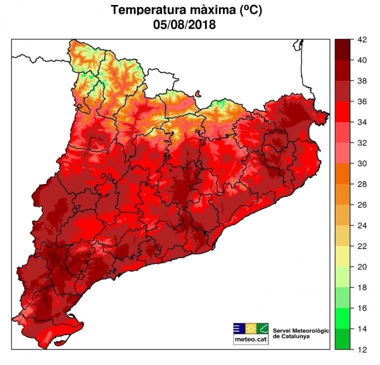 Mapa de temperatures durant l'onada de calor  | Servei Meteorològic de Catalunya