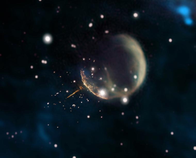 El puls de J0002 apuntant al centre de la supernova  | Jayanne English (Universitat de Manitoba), amb dades de NRAO / F. Schinzel et al., DRAO / Canadian G